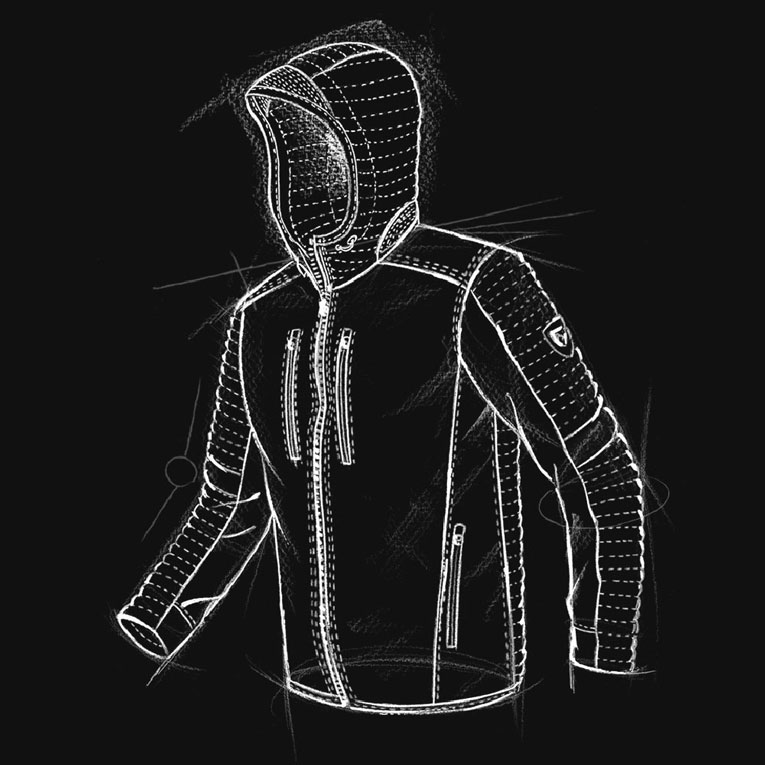 A technical drawing of KUHL men's Firefly Hoody