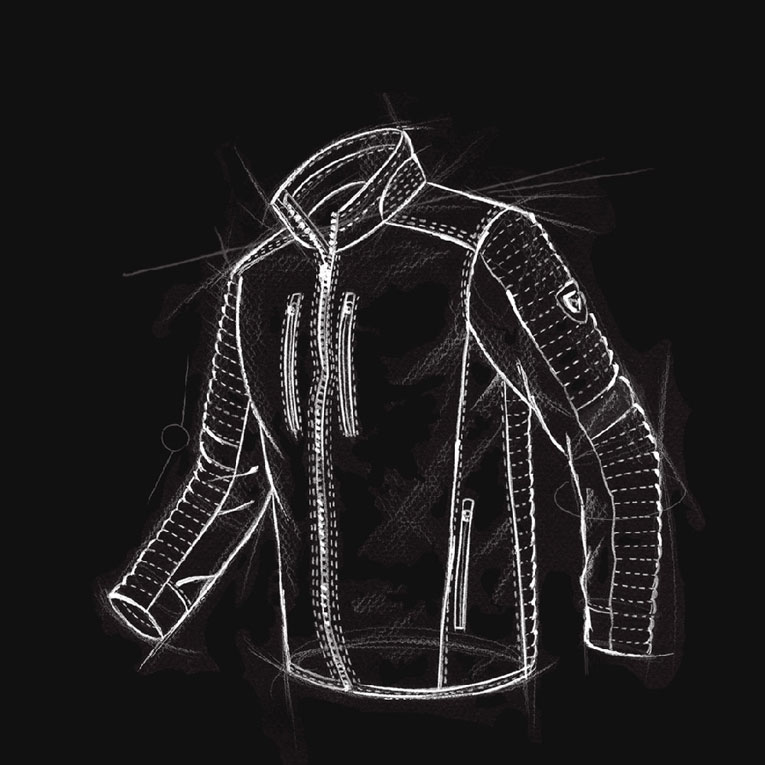 A technical drawing of KUHL men's Firefly Jacket