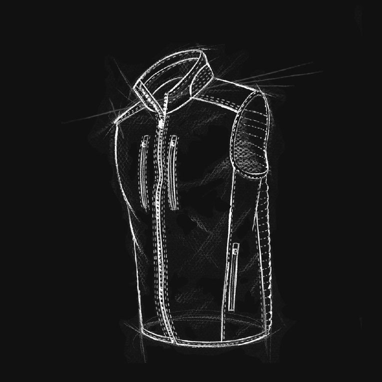 A technical drawing of KUHL men's Firefly Vest