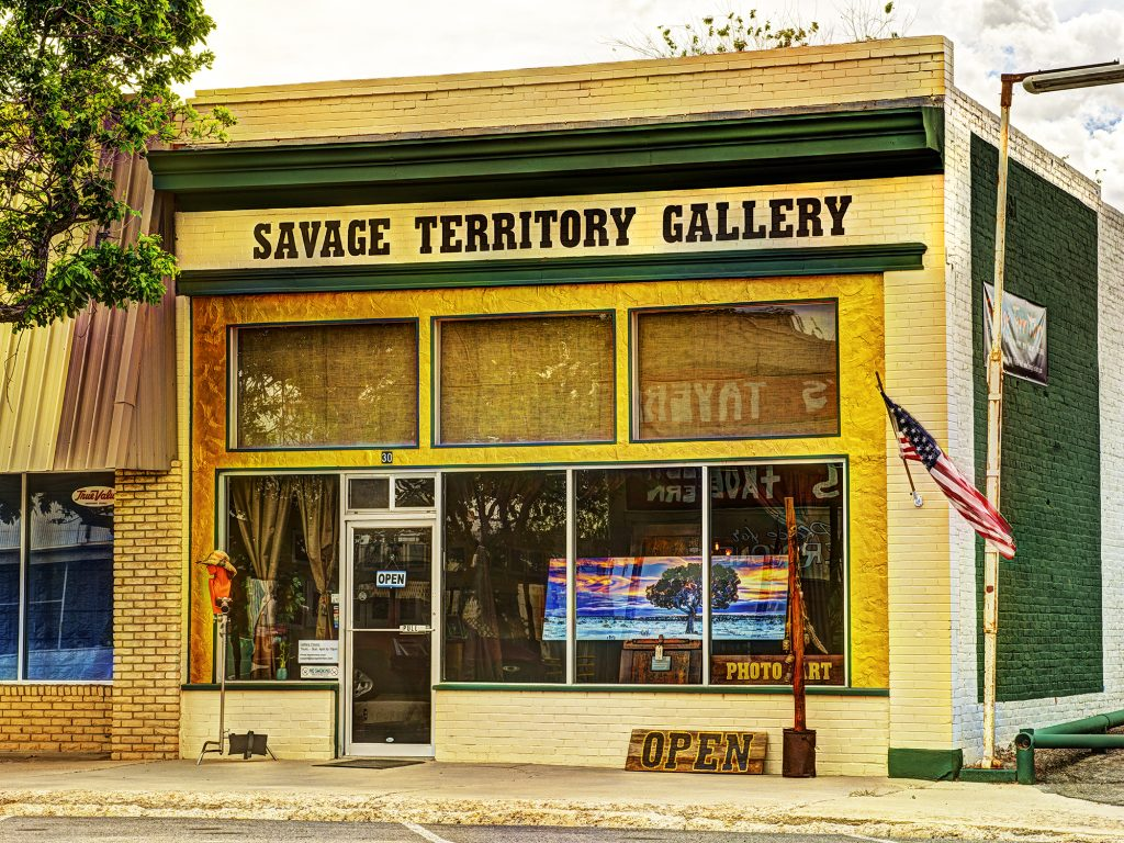 The exterior of Gary Orona's Savage Territory Fine art Photography Gallery in Green River, Utah